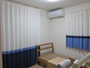 3色の無地を合わせたカーテン